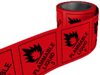 Flammable liquid 3 labels. 100 x 100mm self adhesive labels on roll of 250 labels. sign.