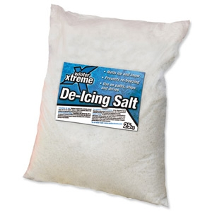 White de icing salt x 40 off 25kg bags Pallet of 40 Bags including delivery. Fast acting, high purity salt for de icing snow and ice leaving virtually no residue.