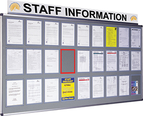 Metal information centre with 10 a4 clear perspex wallets sign.