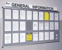 Metal information centre with 10 a4 and 6 a3 clear perspex wallets sign.