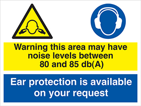 Warning this area may have noise levels between 85 and 90 dbA sign.