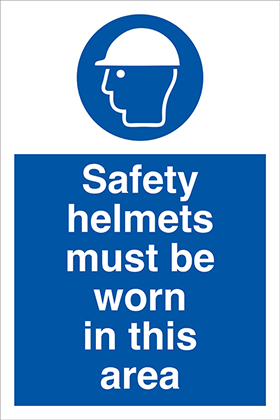 Safety helmets must be worn in this area sign.