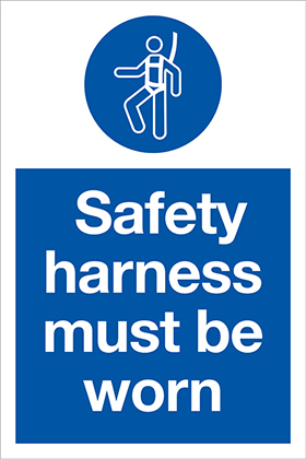 Safety harness must be worn sign.