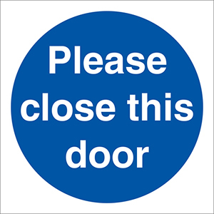 Please close this door sign.