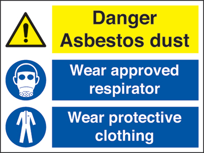 Danger asbestos dust, wear approved respirator, wear protective clothing. sign.