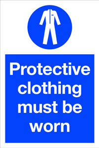 Protective clothing must be worn sign.
