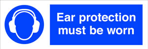 Ear protection must be worn sign.