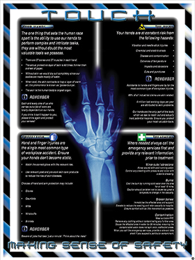 """Hand protection poster """"making sense of safety"""" series of posters"" sign."