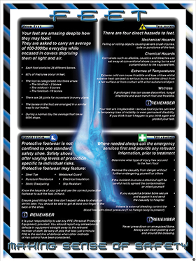 """Foot protection poster """"making sense of safety"""" series of posters"" sign."