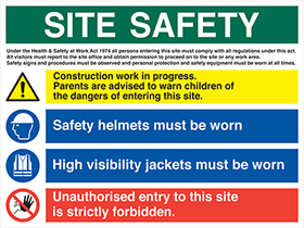 site safety multipurpose sign on 1mm rigid plastic. sign.