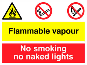 Highly flammable no smoking or naked lights sign.