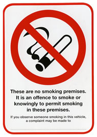 No smoking law sign for use in company or public vehicles with area for name of person responsible for imposing the ban. sign.