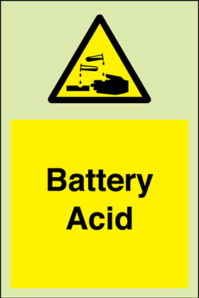 Battery acid + symbol sign.