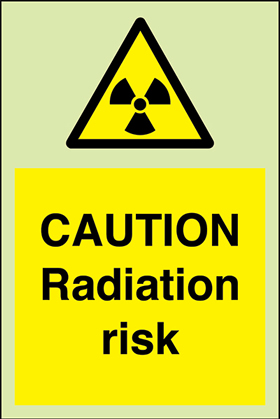 Caution radiation risk + symbol sign.