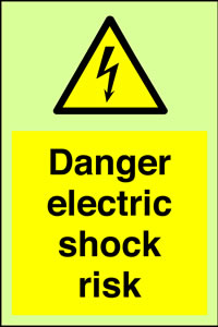Danger electric shock risk + symbol sign.