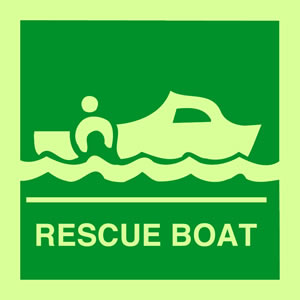 Rescue boat sign.