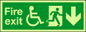 Fire exit with wheelchair and down arrow sign.