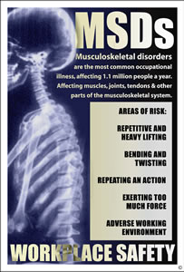 Msds musculskeletal disorders workplace safety encapsulated wall chart.