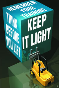 Think before you lift keep it light encapsulated wall chart.