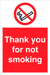Thank you for not smoking. sign.
