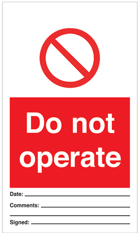 Do not operate - pack of 10 tags.