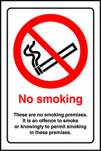 no smoking. These are no smoking premises. it is an offence to smoke or knowingly permit smoking in these premises. sign.