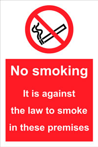 no smoking. it is against the law to smoke in these premises. sign.
