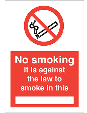 no smoking. it is against the law to smoke in this ..... sign.
