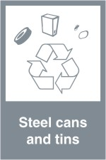 Steel cans and tins sign.