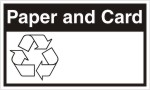 Paper and card recycling sign as self adhedsive label. sign.