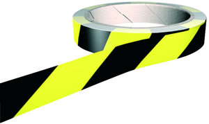 black & yellow reflective floor marking tape
