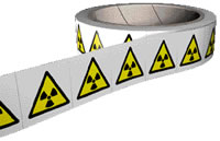 Radiation symbol labels 250 labels per roll sign.