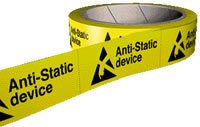 Anti static device 250 labels per roll sign.
