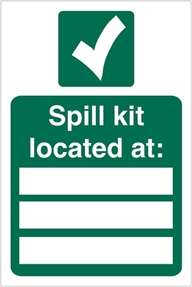 Spill kit located at sign.