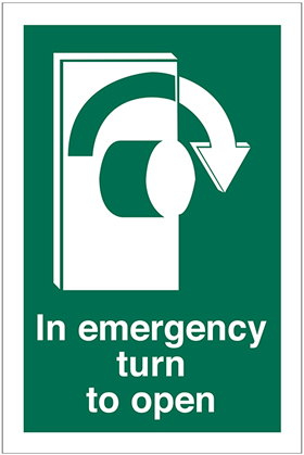 In emergency turn to open twist right to open sign.