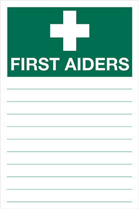 First aiders list sign.