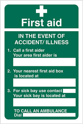 First aid - information sign.