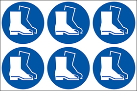 Wear foot protection symbols. 24 pack 6 to a sheet sign.