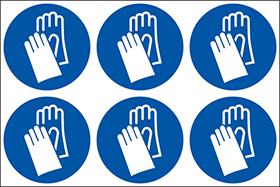 Wear hand protection symbols. 24 pack 6 to a sheet sign.