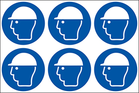 Wear head protection symbols. 24 pack 6 to a sheet sign.
