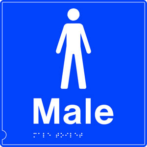 Male toilet symbol braille sign on white background sign.