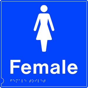 Female toilet braille on blue background sign.
