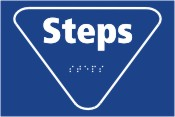 Steps blue braille sign.