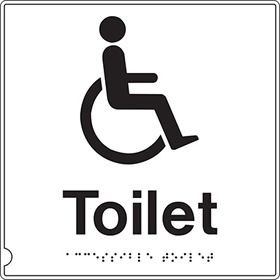 Disabled toliet with symbol sign.