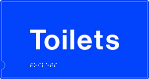 Toilets braille sign on sign on blue background.