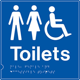 Disabled wc blue braille sign.