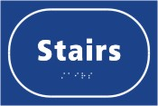Stairs blue braille sign.