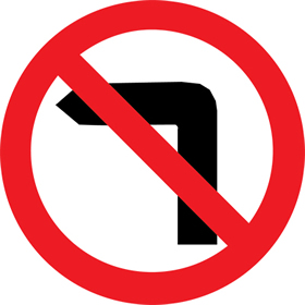 No left turn sign.