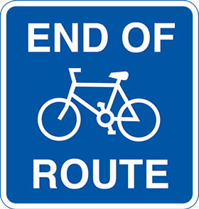 Cyclists end of route sign.
