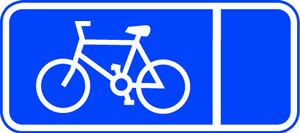 Cycle symbol 3mm aluminium sign.